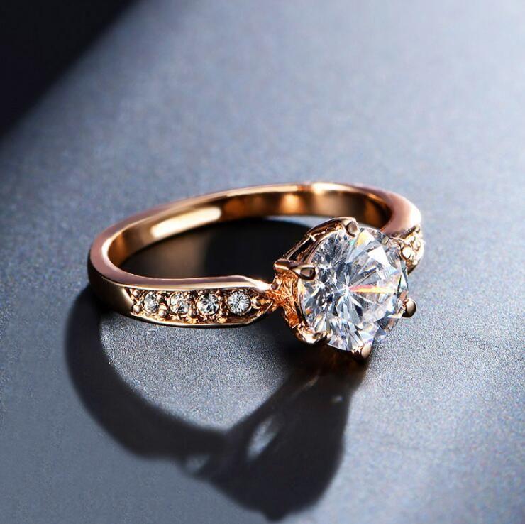 Anéis de noivado para mulheres rose ouro cor anéis de casamento feminino anel cristais austríacos jóias qualidade superior