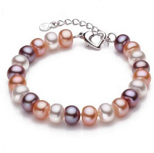 Venta al por mayor 8-9mm oval fulgor impecable natural perla pulsera color mezclado