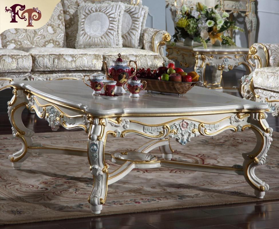 Mobiliário de sala de estar clássico europeu - Mesa de centro clássica de estilo barroco - Mobília italiana