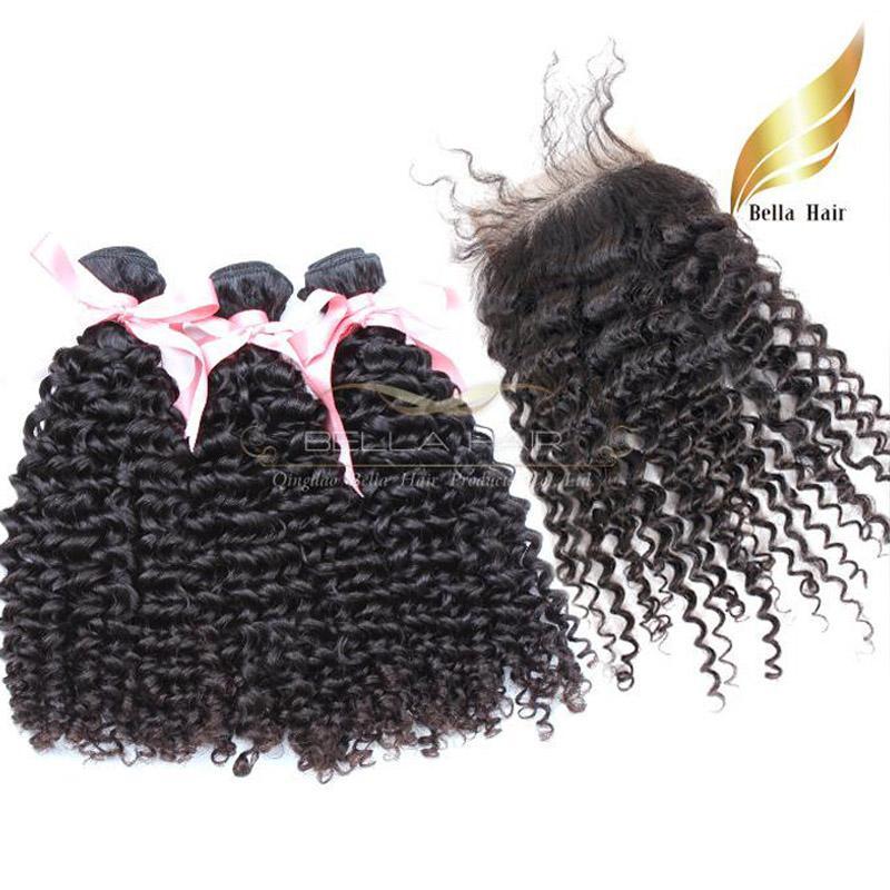 Peruwiańskie wiązki włosowe z zamknięciem koronki (4x4) Kinky Curly Faliste Human Hair Extensions Natural Color 8A 4 sztuk / partia Darmowa Wysyłka Bellahair