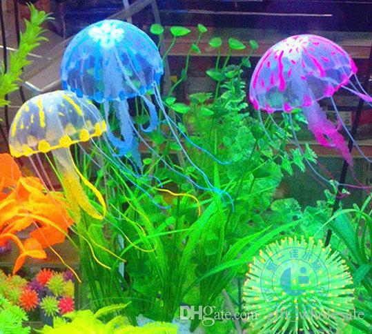 6 Colors Optional 5.5cm*18cm Artificial Glowing Jellyfish with Sucker Fish Tank Aquarium Decoration Aquarium Ornaments Accessories