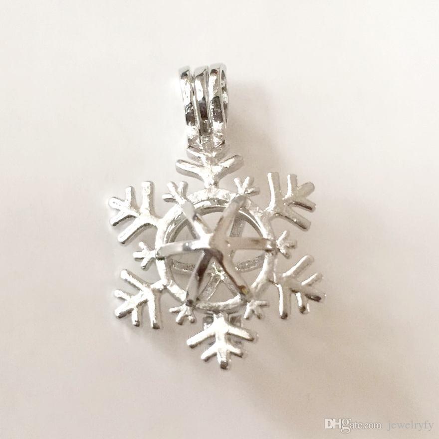 Ciondolo gabbia stile ciondolo a forma di fiocco di neve di Natale, può aprire perline ciondolo perla montaggio per bracciale collana fai da te incantevoli ciondoli