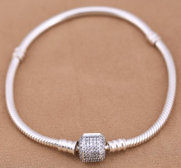 Newest 925 sterling silver bracelets bangles with clear CZ fits for pandora jewelry DIY women charms wholesale free shipping best gift