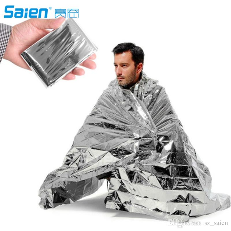 Camping Portable Emergency Blanket First Aid Survival Rescue Curtain Tent Tools Outdoor Hiking Kits Silver Golden 210*130cm 50g
