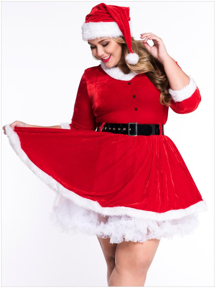 5f46d76ed556a ... Kasiria Festive Lace up Señora Claus Dress Christmas Costume Mujeres  Sexy Secret Santa Costume / Mrs ...