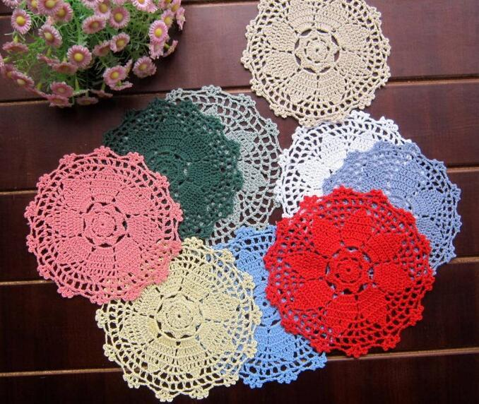 Wholesale- 16CM HOT Lace cotton table place mat cloth pad DIY crochet placemat cup round doilies mug holder happy kitchen tableware