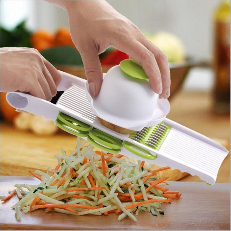 Мандолина овощечистка терка овощи резак с 5 лезвия из нержавеющей стали морковь терка лук Slicer Кухонные аксессуары инструменты