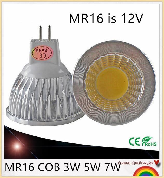 100% de puissance vraie MR16 GU5.3 COB MR16 3W 5W 7W Dimmable COB Ampoule LED Spotlight Lampe blanche / froide MR16 12V GU5.3 85 ~ 265V