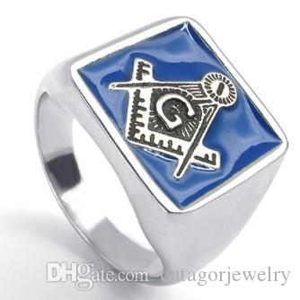 New 316L Stainless Steel Casting Blue Color Freemasonry Freemasons Symbol Rings SZ#7-12 ,Free and Accepted Masons
