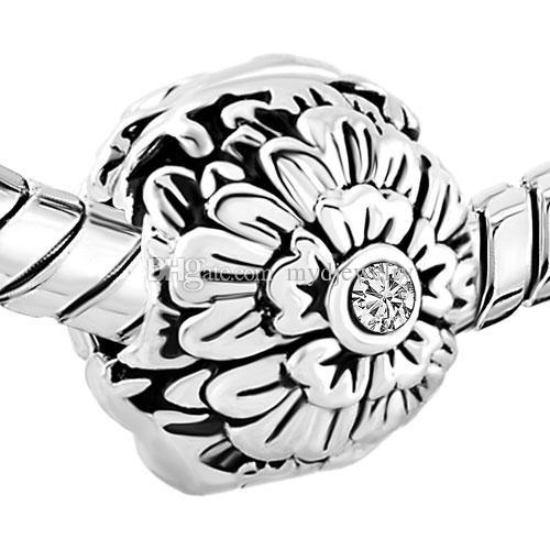 패션 보석 유럽 비즈 크리스탈 birthstone 꽃 행운 클립 잠금 매력 마개 걸쇠 팔찌 모든 판도라에 맞는 브랜드