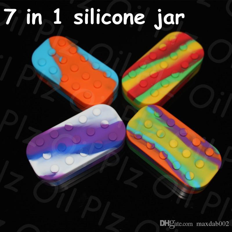 Commercio all'ingrosso 34 ml vasi di silicone caldo dab cera vaporizzatore contenitore dell'olio Contenitori in silicone per scatola di cera Silicone Dab Jars 6 + 1