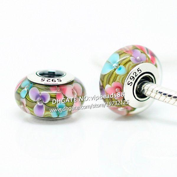 S925 gioielli in argento sterling colore fiori perline in vetro di murano misura europeo fai da te pandora bracciali charm collana 221
