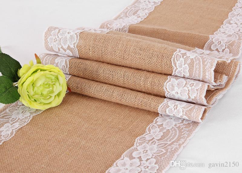 10pcs 30cm*275cm Vintage Burlap Lace Hessian Table Runner Natural Jute Country Wedding Banquet Party Home Decoration
