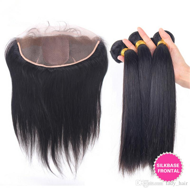 Unprocessed Peruvian Human Hair Weave With Silk Base Frontal 4Pcs Lot Silky Straight 3Bundles Peruvian Hair With Silk Frontal Closure 13x4
