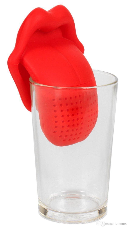 Infusers de chá de infusão de chá de lingüeta de chá de infusão de chá de língua de silicone de comida / coador de chá de malha / filtros de chá