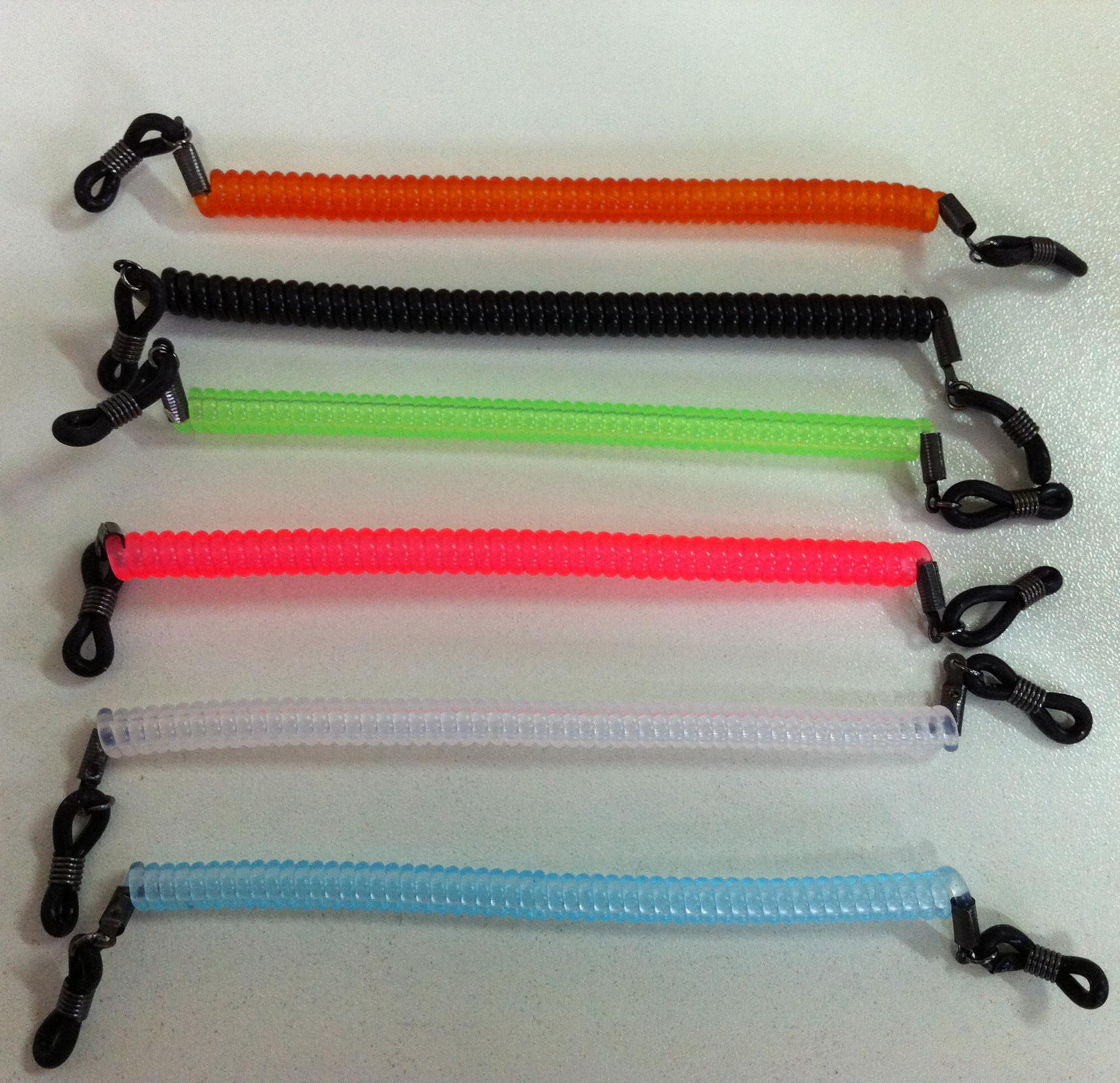 12 pçs / lote 6 cores misturadas crianças elásticas crianças óculos de óculos de óculos de óculos de nylon espiral cordas de bobina retentor de retenção faixa de esporte Lactars