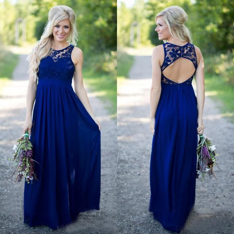 2019 Country Style Royal Blue Lace And Chiffon A-line Bridesmaid Dresses Long Cheap Jewek Cut Out Back Floor Length Wedding Dress EN6181