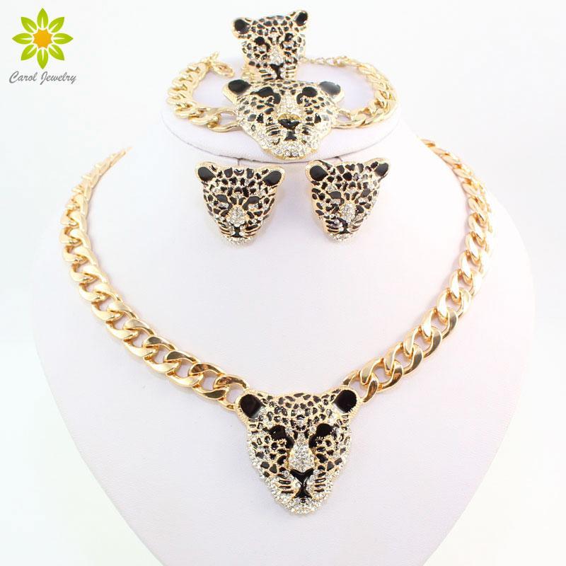 Cool Leopard Head Brincos Pulseira Anel Conjunto de Colar Para As Mulheres Na Moda Banhado A Ouro Traje Africano Conjuntos de Jóias Com Strass