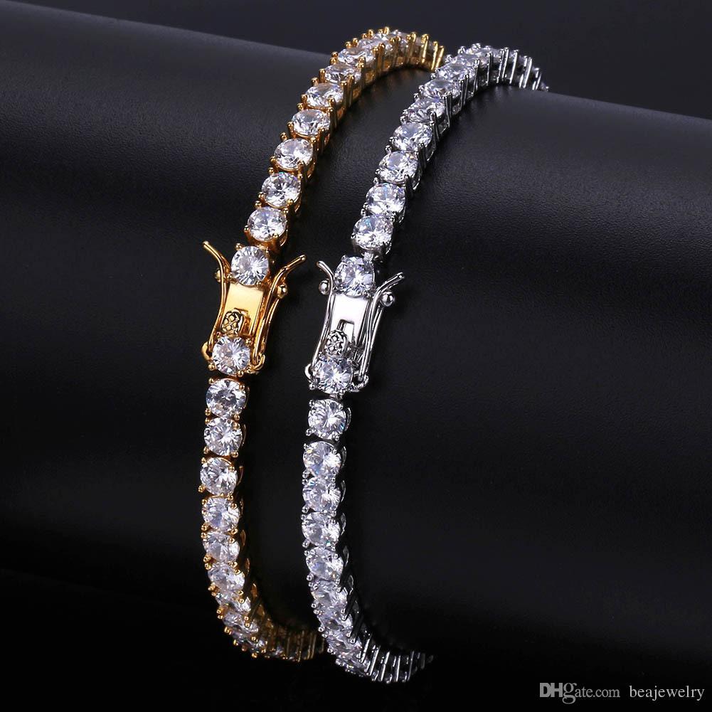 3/4/5/6mm 7/8inch Men Iced Out Cut Tennis Bracelet Triple Lock Hiphop 1 Row Luxury CZ Bracelets