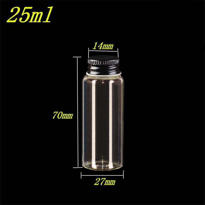 20 шт. 27x70x14 мм винт рот стеклянные бутылки с черной алюминиевой крышкой DIY 25 мл прозрачные пустые стеклянные контейнеры банки
