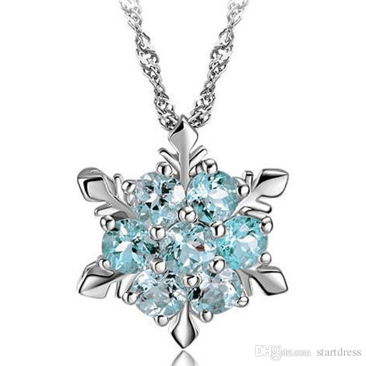 Spedizione gratuita Ciondolo di lusso gioielli da sposa collane di fascino fiocco di neve cristallo argento collana placcato per signore al matrimonio