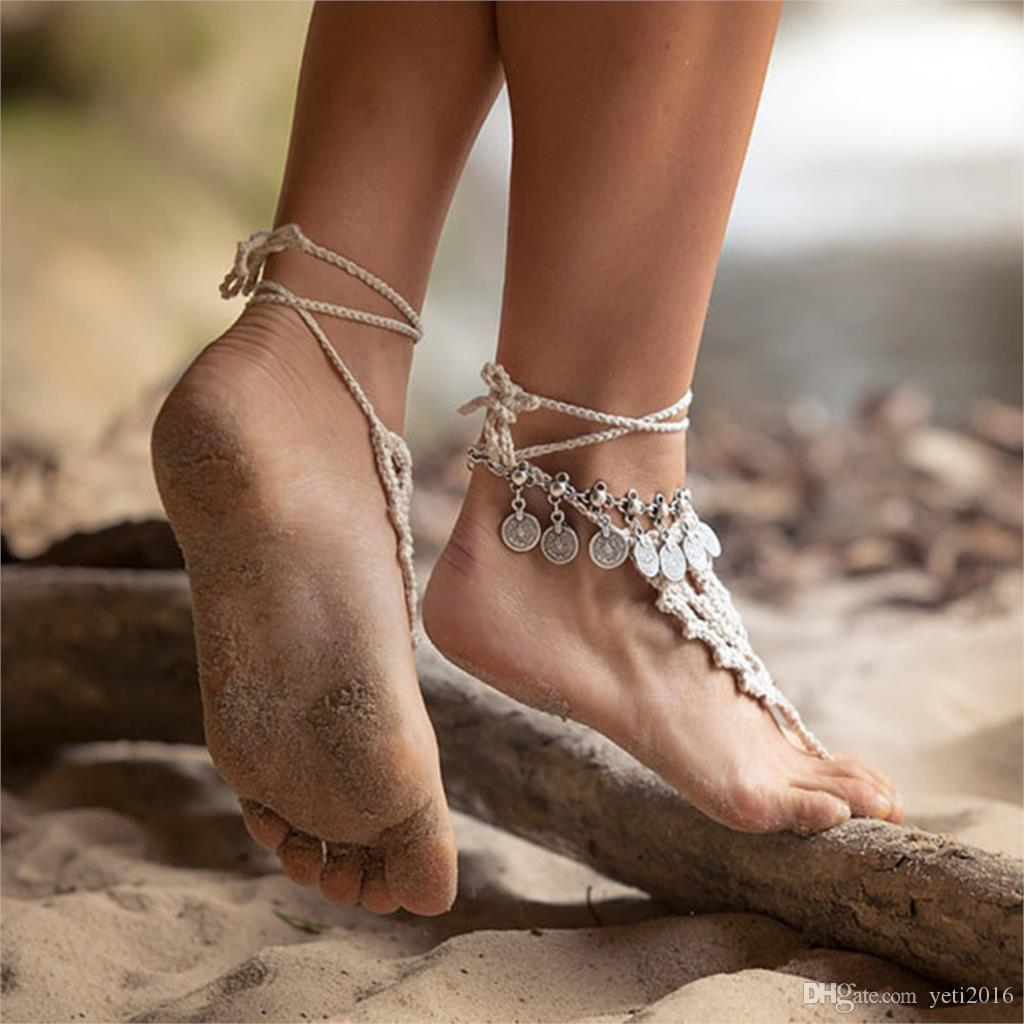 silver anklet pearl ankle faux crystal for gold plated bracelet product beaded barefoot name heart