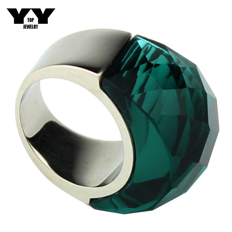 O mais novo tamanho 6 a 9 Anéis de cristal Exagerados Big em cor verde claro polimento feito à mão de luxo anel de aço Inoxidável 316L para as mulheres