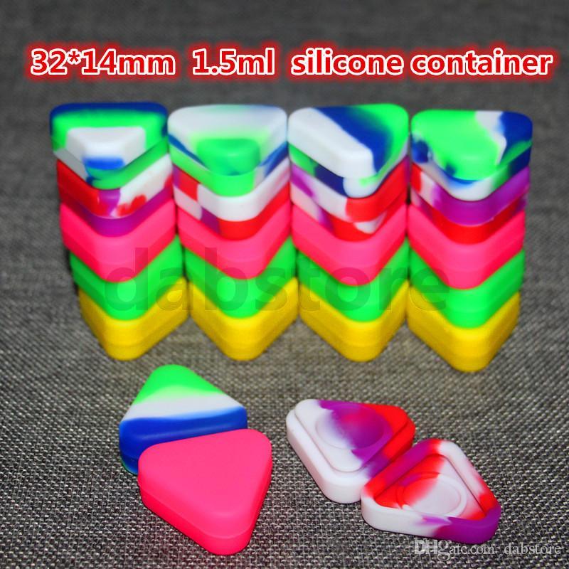 32 * 14mm Triangle gros cire Huiliers Jars silicone Dab cire Container Dab plastique Conteneurs silicone pour la cire passer des tests FDA LFGB