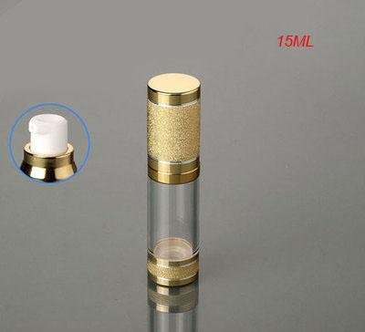 Hot 15ML airless bouteille en plastique, en gros 0,5 onces en plastique lotion bouteille sans air avec couvercle en or de pompe peut utilisé pour cosmétique