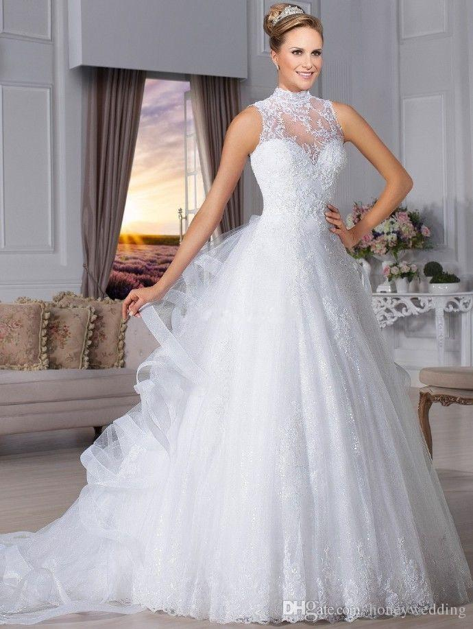 Brazil High Neck Vintage Wedding Dresses 2017 Sleeveless Ruffles Draped Bridal Gowns Plus Size 2016 Ball Gown Bridal Gowns Cheap