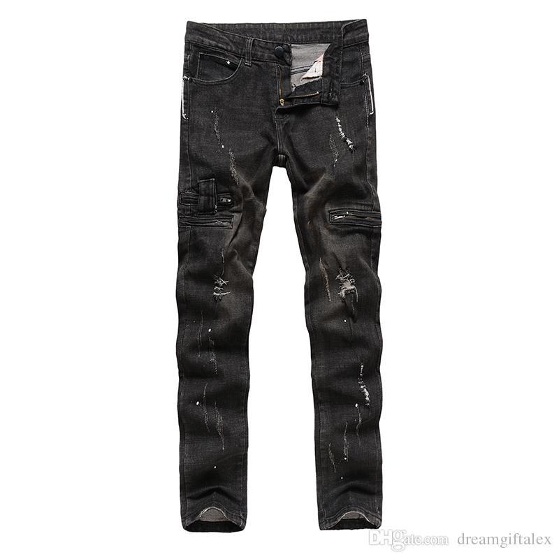 2017 Yeni erkek kot Pomo denim kumaş Dilenci Delik pantolon Fermuar dekorasyon pantolon moda erkekler kot