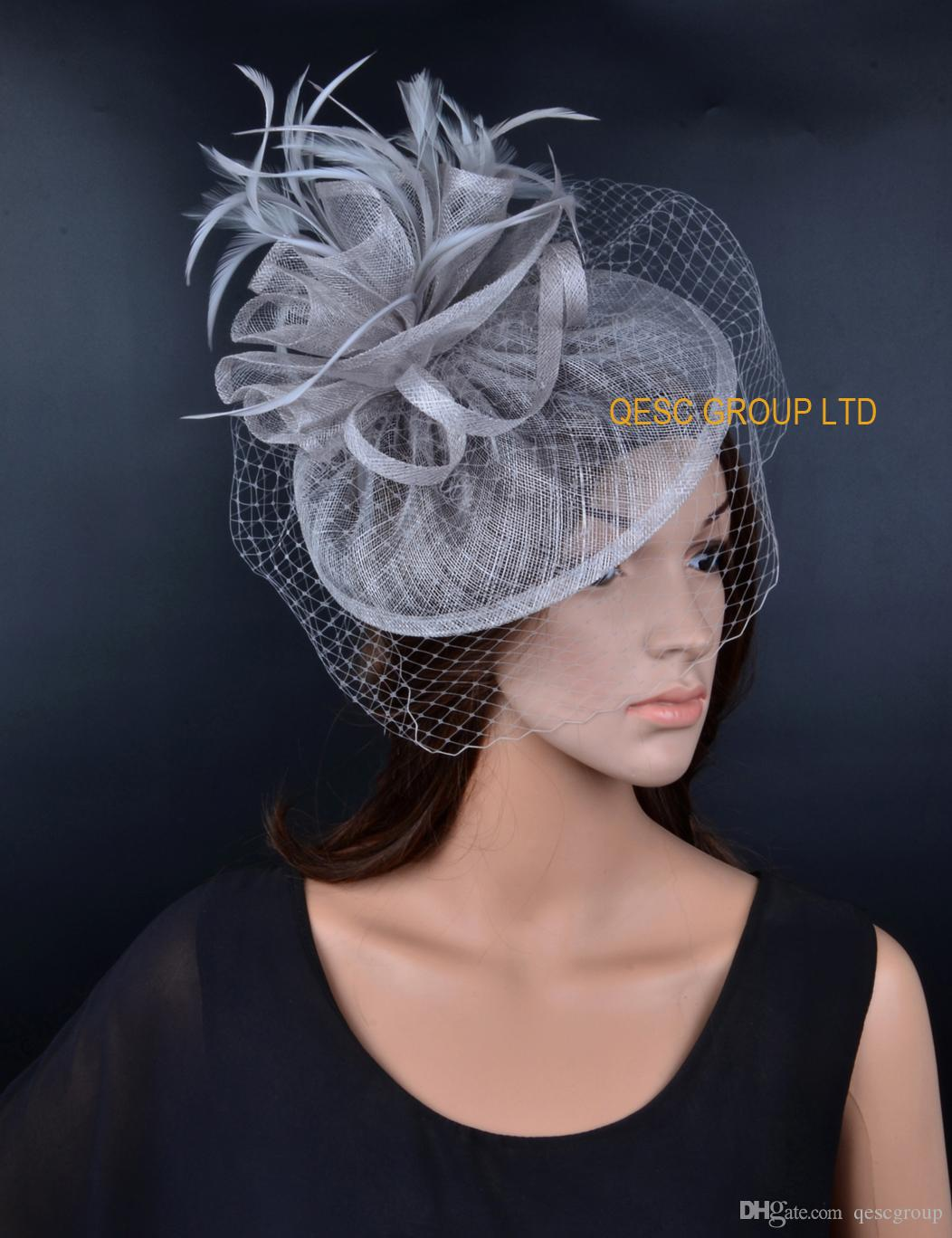 Silver grey Sinamay fascinator hat wedding accessories with feathers and veiling for races,party.