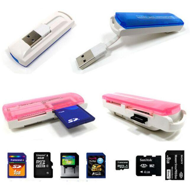 HOT Card Reader Multi Cards In 1 Small spacecraft Micro SD TF M2 camera, SD Memory Stick M2 MINI SD Card Reader