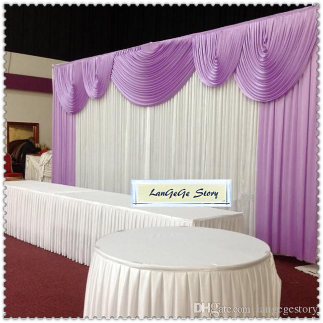 Free shipping/3m X 6m (10ft*20ft) wedding party event stage decoration white fabric ice silk drape with Lilac swags curtain backdrop