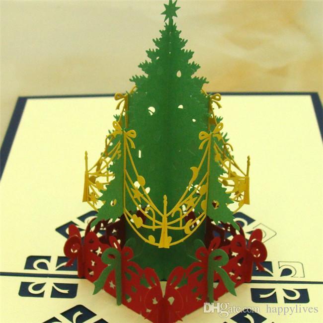 Christmas Card3d Pop Up Cards Merry Christmas Invitation Birthday Anniversary Three-Dimensional Christmas Tree Christmas Decorations
