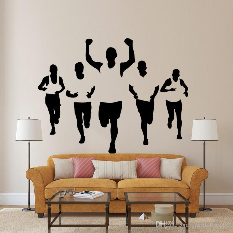 Five Athletes Wall Stickers Living Room Bedroom Office Walking Sportsman  Wall Decal Home Decor Wall Applique Wallpaper Poster For Wall Decor Large  ...