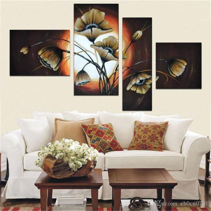 100% handgemalte Wandkunst Ruhig elegante blühende Blumendekorationszusammenfassung Landschaftsölgemälde auf Segeltuch 4pcs / set