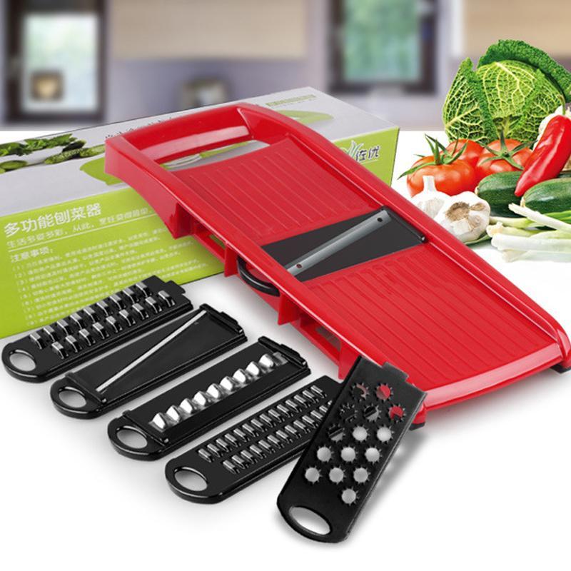 LEKOCH 6 Stück Klingen Mandolinenschneider + 1 Julienne Peeler Gemüseschneider Obst Gemüse Werkzeuge Küchenzubehör LS-1002