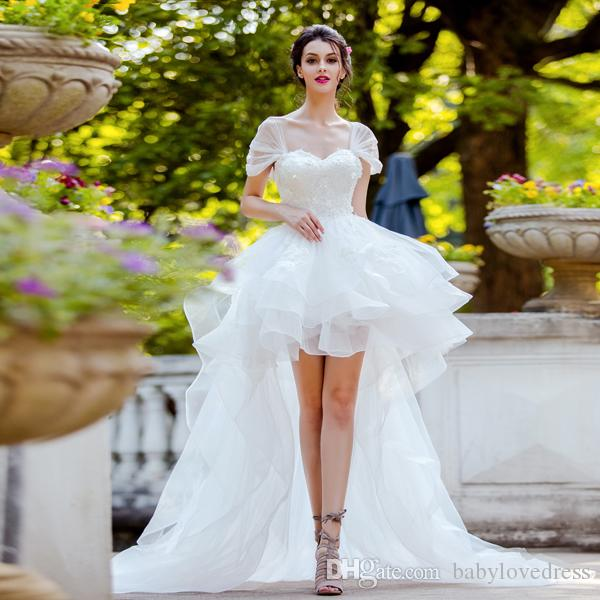 Spring summer high low tulle country wedding dresses 2018 capped sleeves applique lace up back wedding gowns
