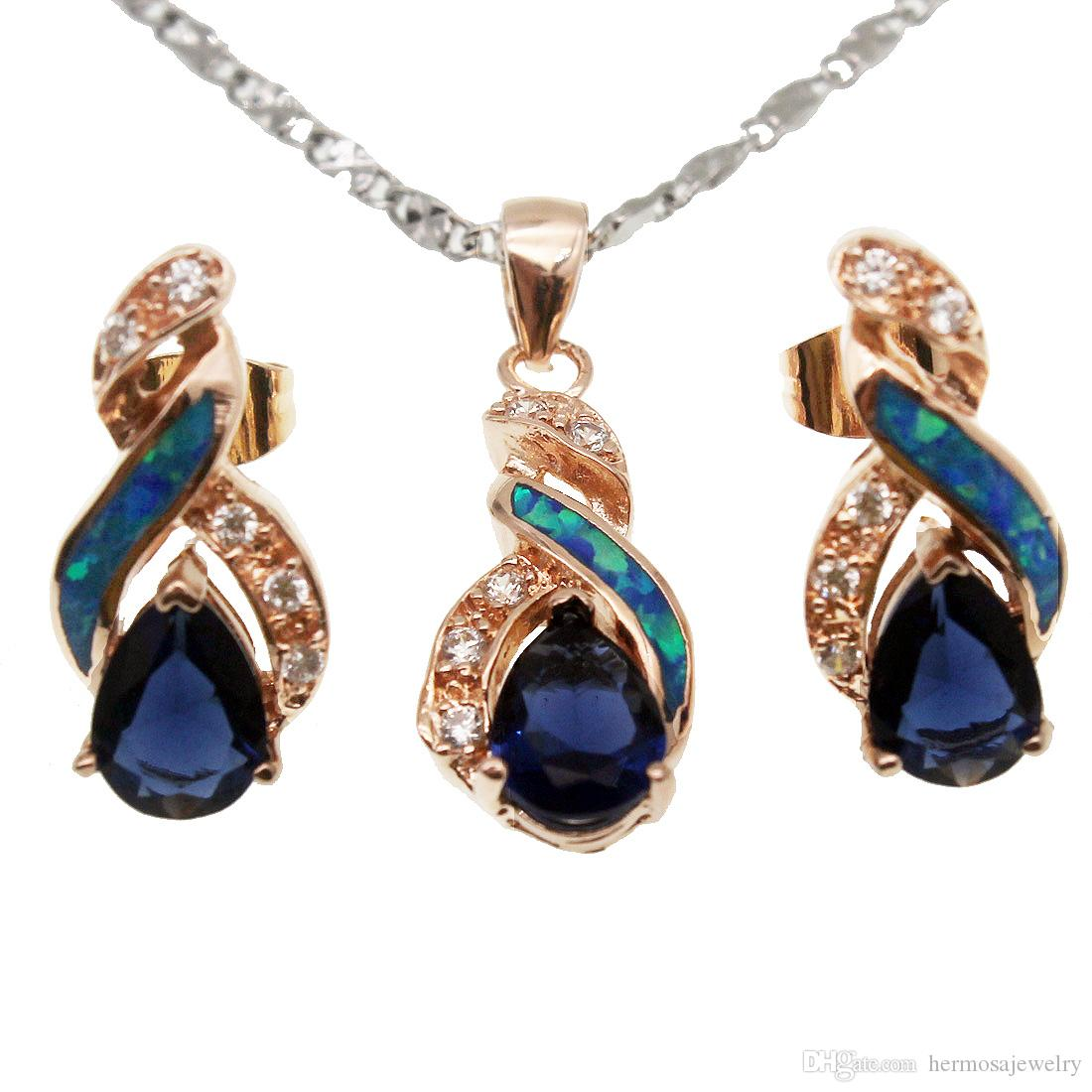 Christmas Gift Jewelry Sets Natural Opal Rose Gold Plated Blue Sapphire 8 Design Pendant Necklace Earring OPJS8