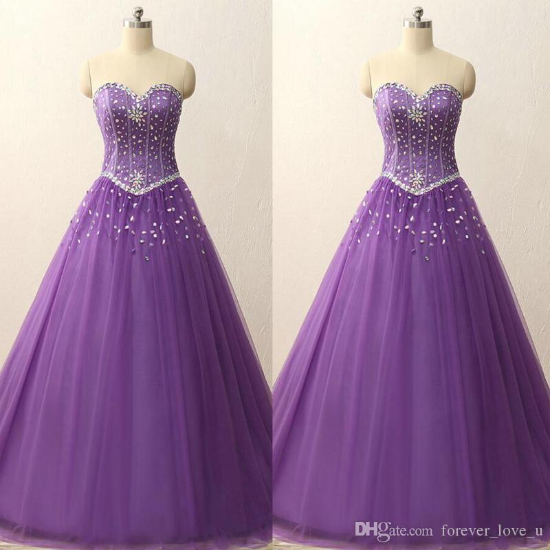 Дешевые платья Quinceanera Light Фиолетовый Line Милая рукавов кристаллов платье Long Formal Vestidos Festa корсет Назад