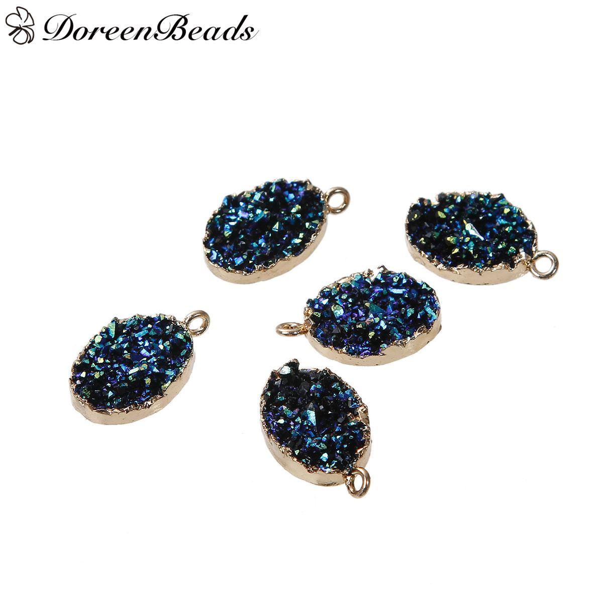 "Resin Druzy /Drusy Charms Oval Gold Plated Blue AB Color 22mm x13mm( 7/8"" x 4/8"") - 21mm x13mm( 7/8"" x 4/8""), 2 PCs 2016 new Free shipping j"