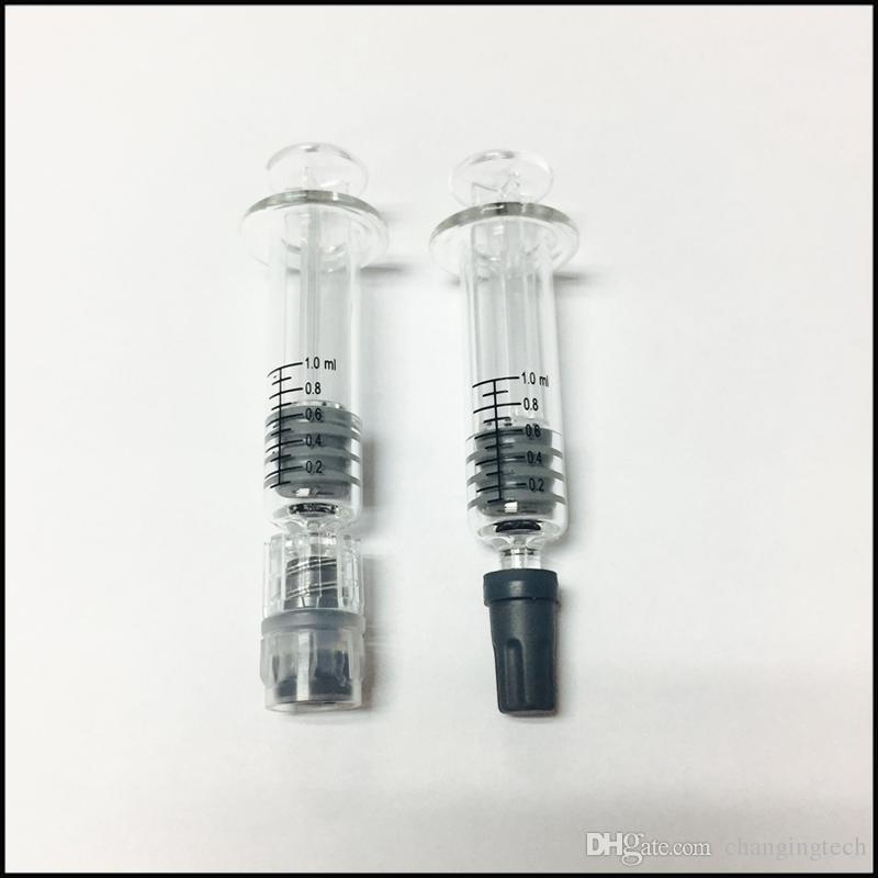 1ML GALSS SYRINGE LUER BLOQUEO LUER Cabeza inyector de vidrio con marca de medición para cartuchos de vaporizador de aceite grueso