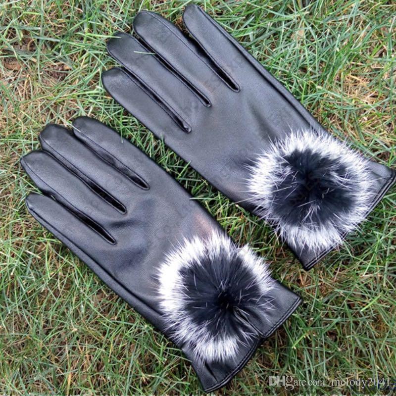 Guanti dita in pelle PU imitazione pelliccia di coniglio Design palla sottile autunno inverno PU PU Touch Screen Guanti 5 colori