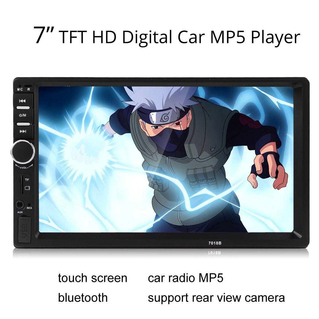 7018B 2DIN سيارة بلوتوث صوت 7 HD راديو في اندفاعة شاشة تعمل باللمس ستيريو MP3 MP5 لاعب USB CMO_20O