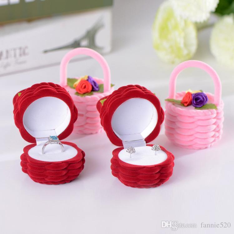 Cajas de anillo Flor de la caja de aretes de la caja Caja del anillo de color rojo rosa Caja de la joyería Caja de anillo Caja de regalo Caja de regalo Caja de regalo Envío gratuito