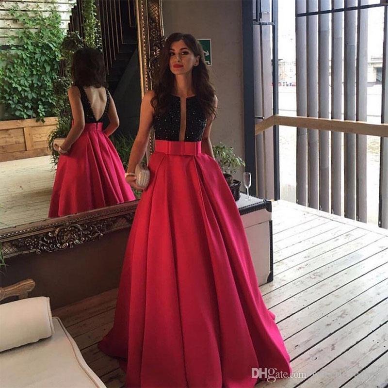 2019 robes de soirée sur mesure satin perles sexy dos nu profond v-cou longue soirée robes de bal arabe formelle robe