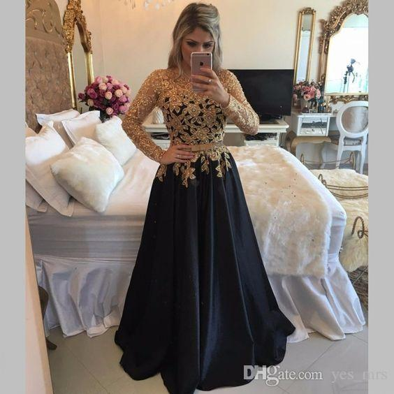 2020 Cheap Sexy Prom Dresses Jewel Neck Long Sleeves Gold Lace Appliques Illusion Beaded Sashes Satin Party Dress Formal Evening Gowns Wear