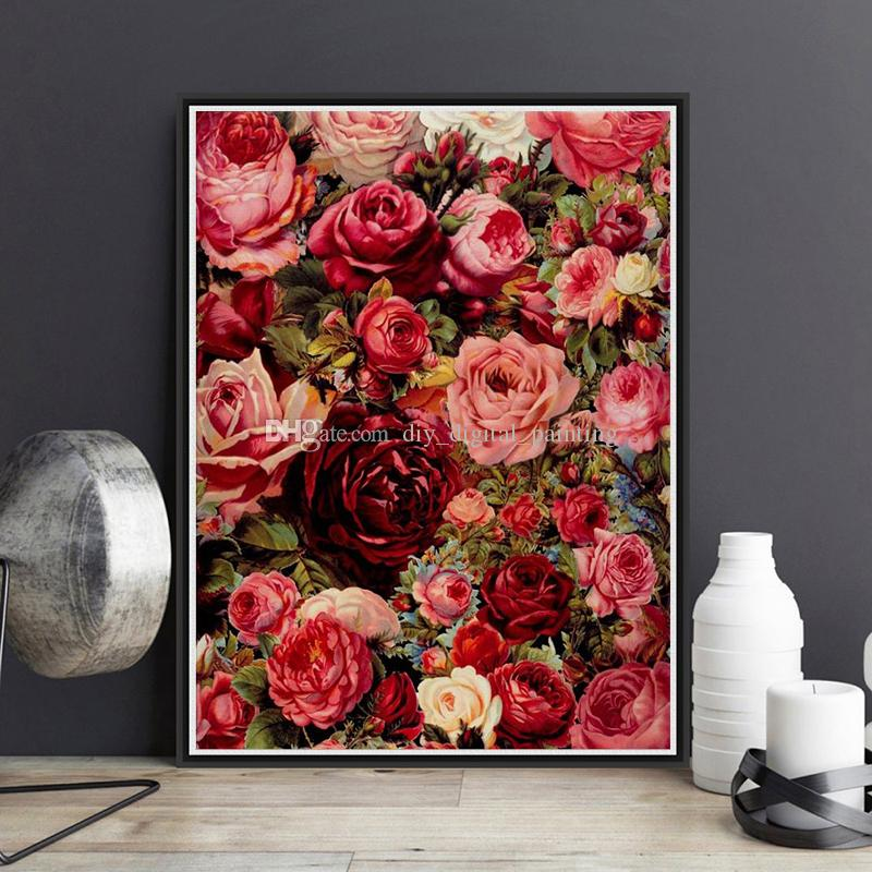 Framed On Canvas Diy Digital Oil Painting By Numbers Wall Red Rose A Painting Acrylic Painting Hand Painted Home Decor For Living Room