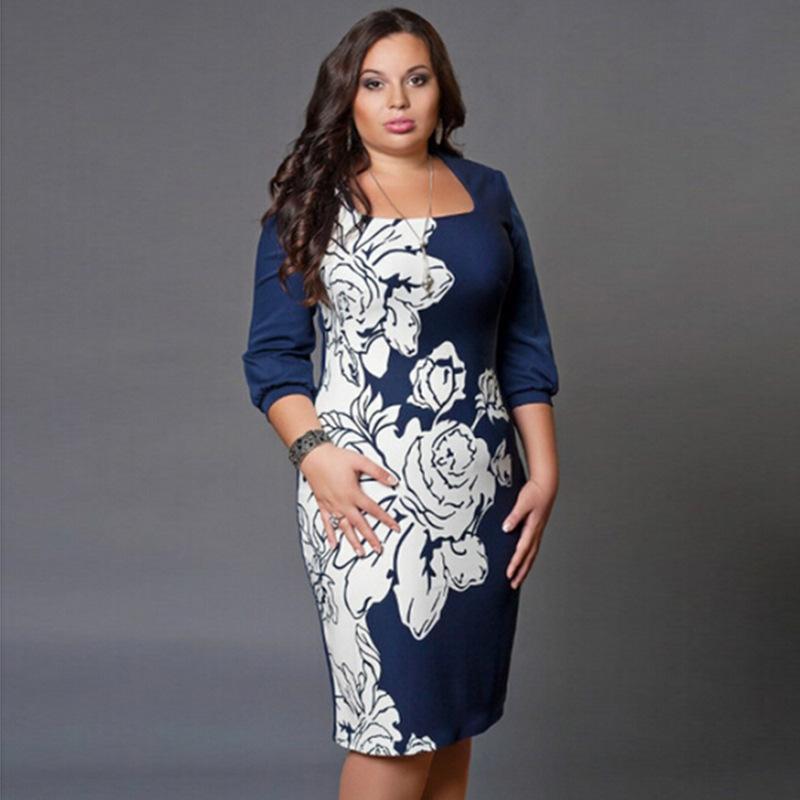 2017 ранней весной женщины Офис Работы платье Сексуальная повседневная мода элегантный Bodycon синий печати платья плюс размер одежды S-6xl
